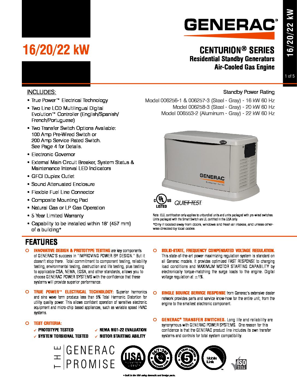 Generac Centurion 26KW – 22KW | Wheeler Generators ...